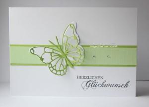 Karte Memo Schmetterling grün
